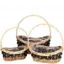 Großhandel Sonstige: Präsent/Weidenkorb oval, 3-er Set, L43/37/31cm, mi